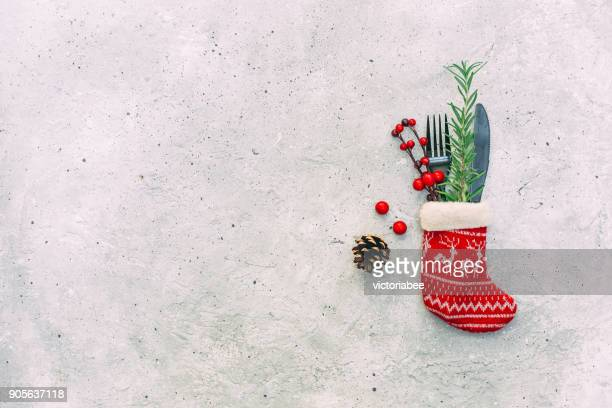 Festive Christmas place setting and decorations