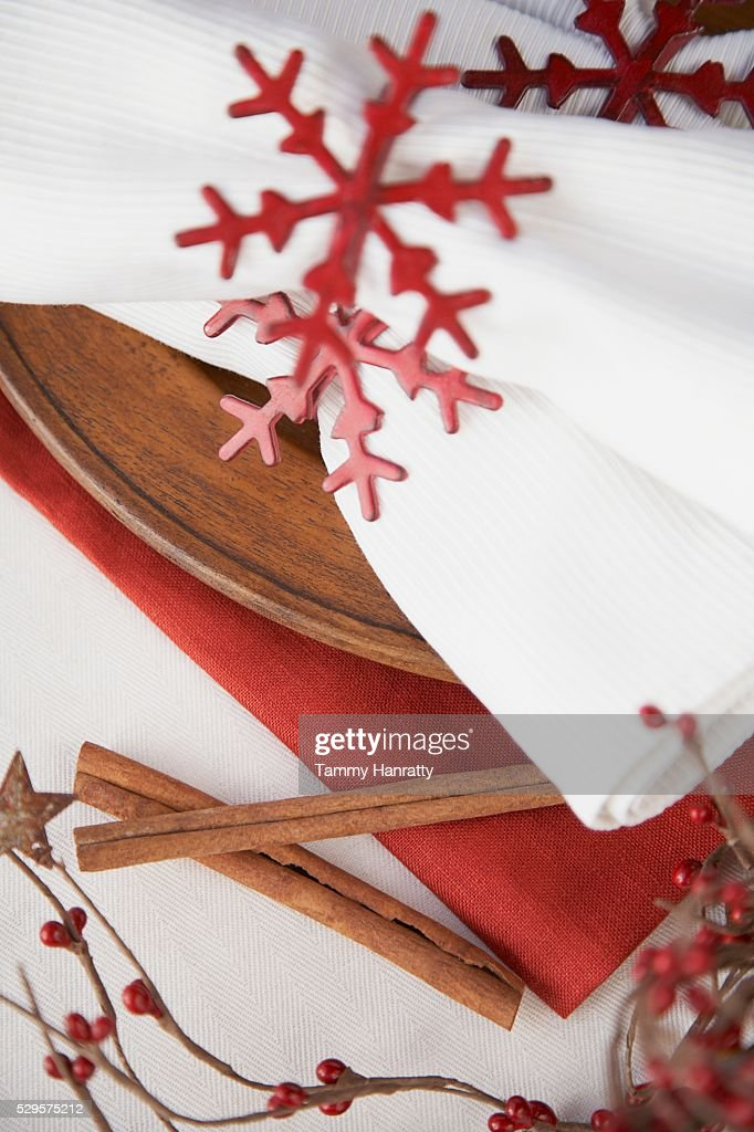 Festive Christmas Place Setting : Stock Photo