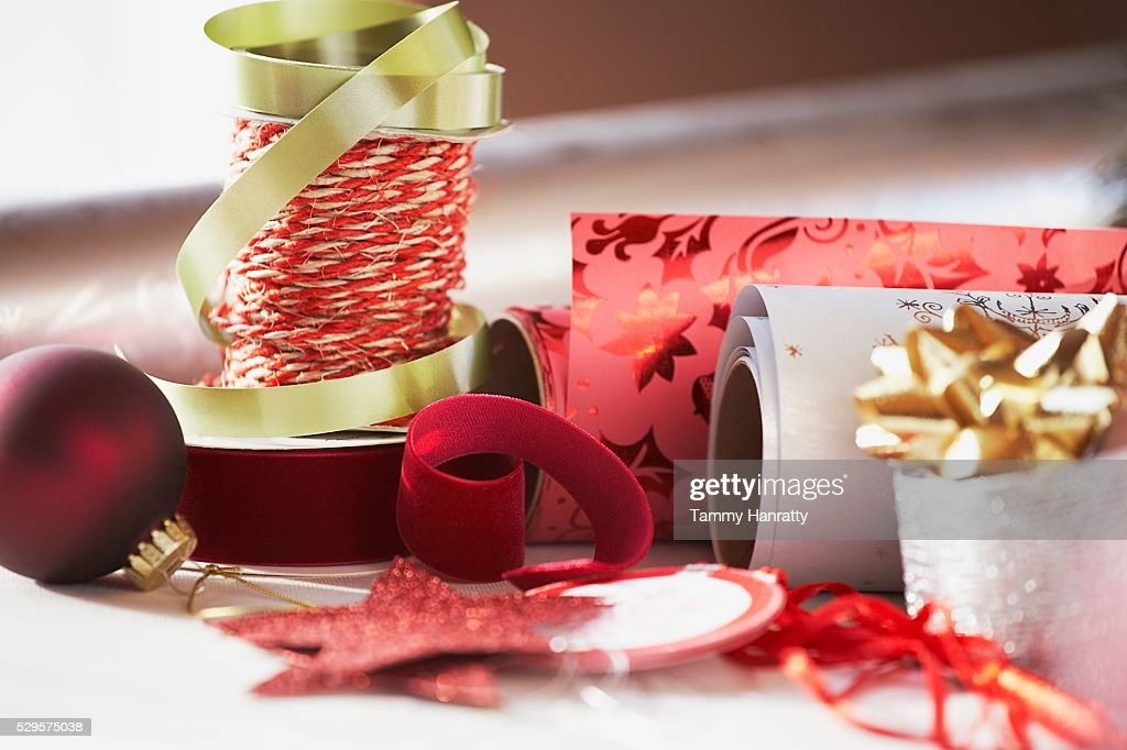 Festive Christmas Ribbon and Wrapping Paper : Stock Photo