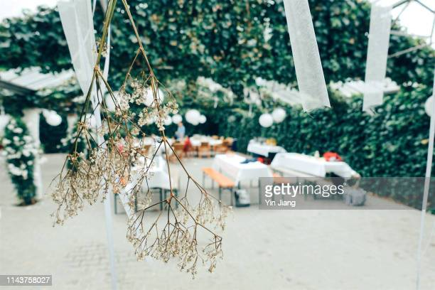 festive decorated table outdoors and white flowers in focus - wedding after party stock pictures, royalty-free photos & images