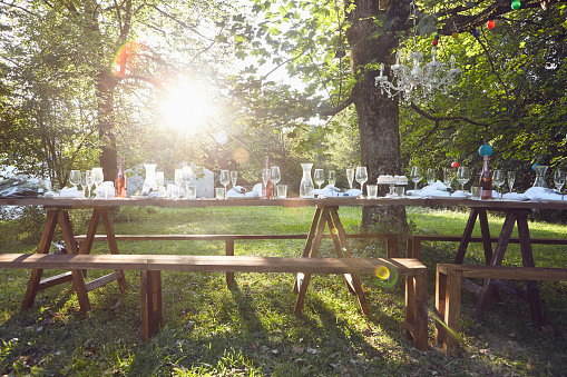 Festive decorated table outdoors - gettyimageskorea