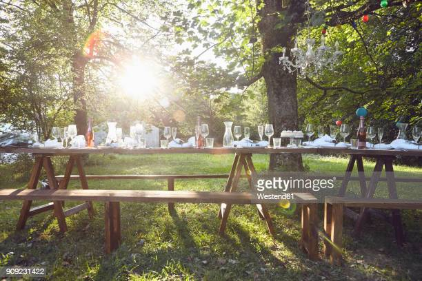 Festive decorated table outdoors