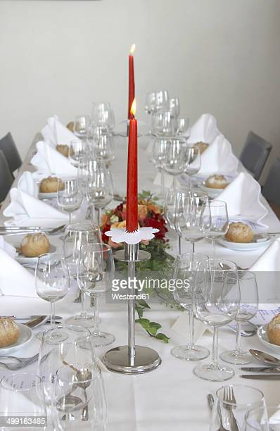 festive decorated table - birthday cake lots of candles stock photos and pictures