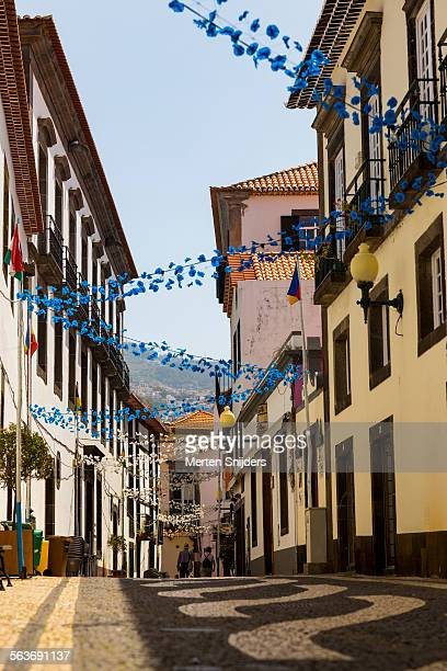 festive decoration on rua de bispo - funchal stock pictures, royalty-free photos & images