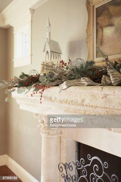 Festive fireplace mantels