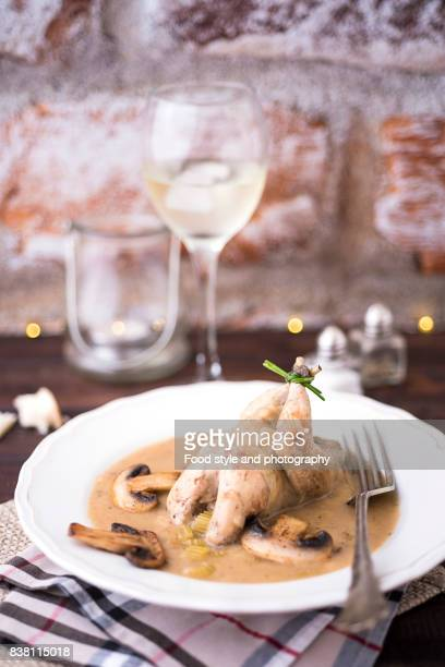 Festive food - partridge with mushroom sauce