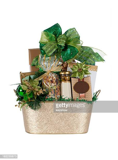 Festive Gold and Green Gift Basket