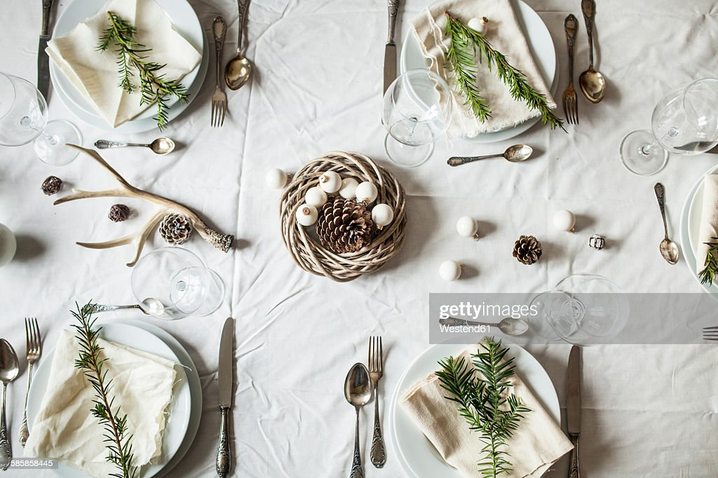 Festive laid table at Christmas time : Stock-Foto