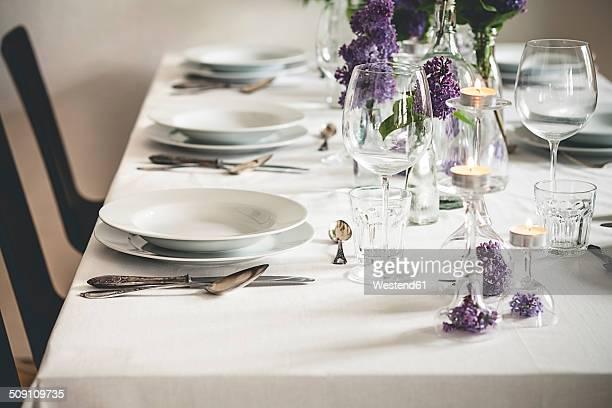 Festive laid table with lilac, Syringa