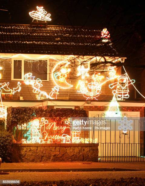 Festive lights adorn this house in Bailey Crescent Poole as the Christmas break approaches