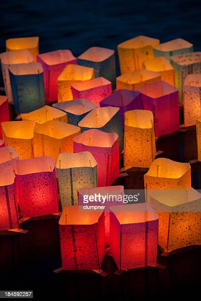 Festive, multicolored Japanese lanterns lighting the evening