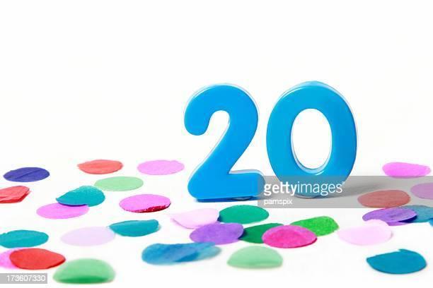 Festliche Number Twenty 20 mit Konfetti