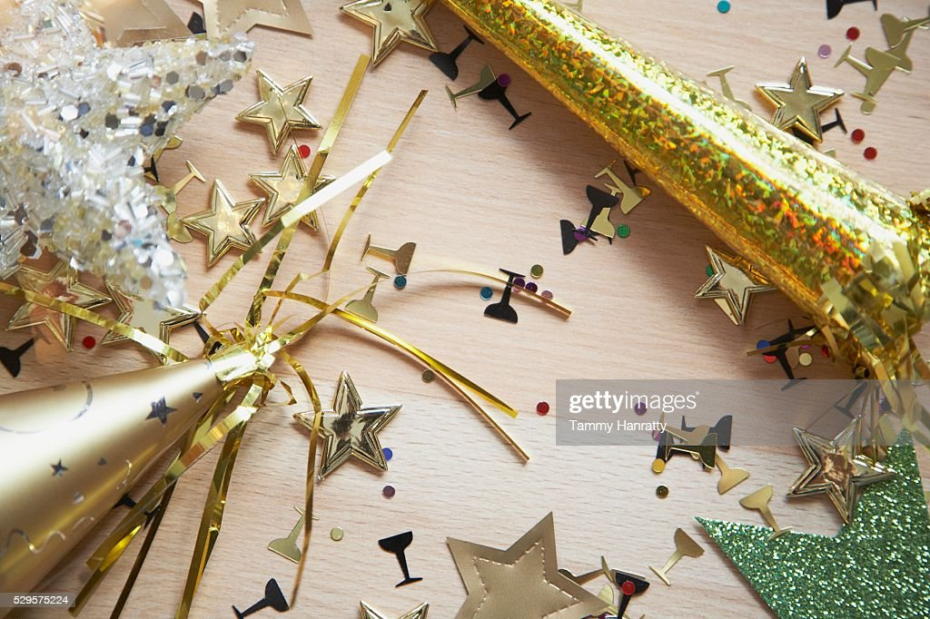 Festive Party Hats and Confetti : Stock Photo