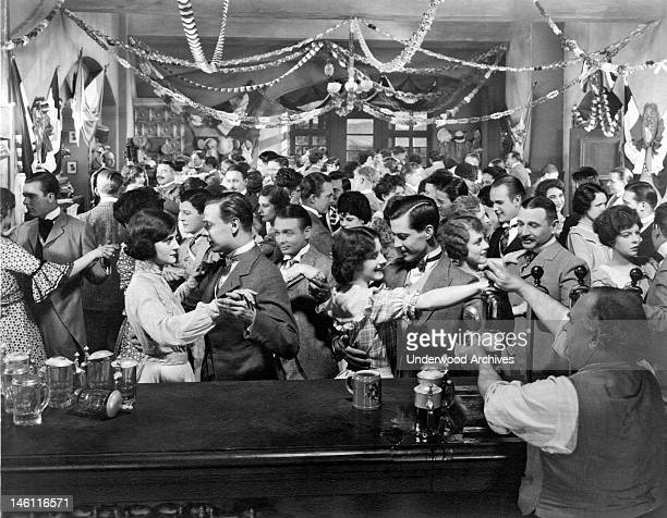 Festive party scene from an early silent movie, Hollywood, California, early to mid 1920s.