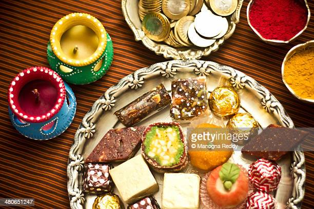 festive preperations - diwali sweets stock photos and pictures