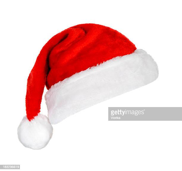 A festive red and white Santa hat on a white background