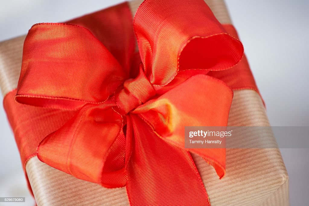 Festive Red Ribbon Bow : Stock Photo