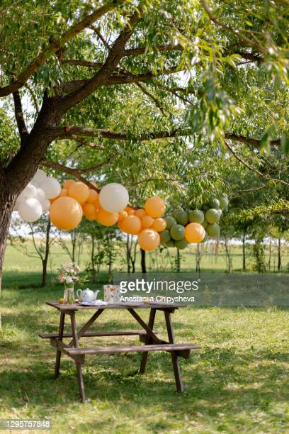 festive table and decoration in nature - garden party stock pictures, royalty-free photos & images