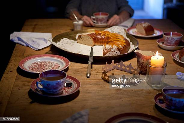 Festive table with French Galette des Rois cake