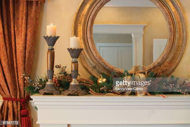 Festively decorated fireplace mantel