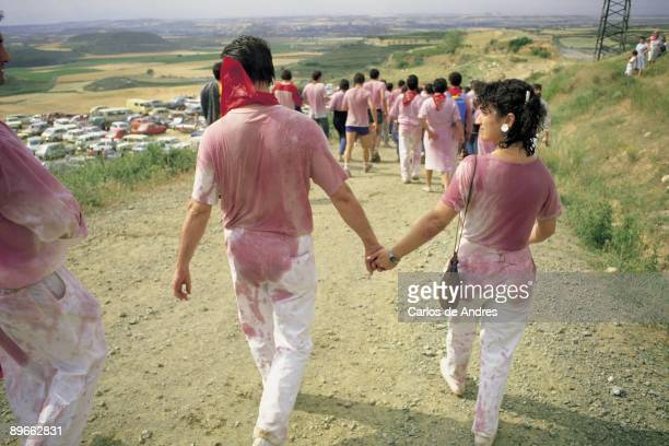 Festivity of the wine, Haro, La Rioja People´s group with the clothes wet of wine