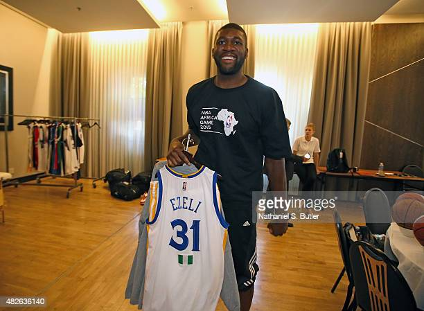Festus Ezeli of Team Africa smiles with his jersey prior to the NBA Africa Game 2015 as part of Basketball Without Borders on August 1, 2015 at the...