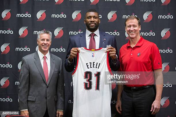 Festus Ezeli of the Portland Trail Blazers is introduced to the media by team General Manager Neil Olshey and Head Coach Terry Stotts July 8 2016 at...