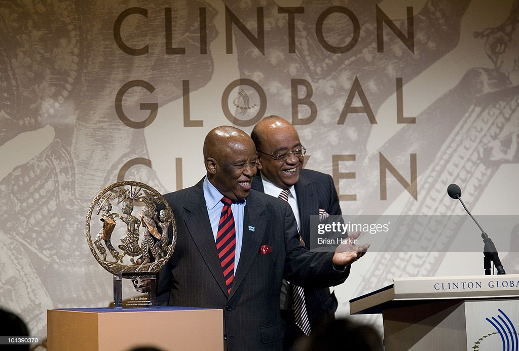 Festus Mogae (L), the former President of the Republic of Botswana, presents the award for Leadership in Philanthropy to Mohamed Ibrahim during the Clinton Global Citizens Awards at the conclusion to the annual Clinton Global Initiative (CGI) on September 23, 2010 in New York City. The sixth annual meeting of the CGI gathers prominent individuals in politics, business, science, academics, religion and entertainment to discuss global issues such as climate change and the reconstruction of Haiti. The event, founded by Clinton after he left office, is held the same week as the General Assembly at the United Nations, when most world leaders are in New York City.