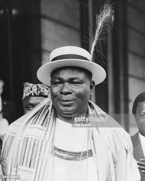 Festus Okotie Eboh, Nigerian Minister of Finance, at the Nigerian Constitutional Conference, Lancaster House, London, May 23rd 1957.