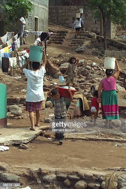 Fetching water is one of the survivors' main daily tasks