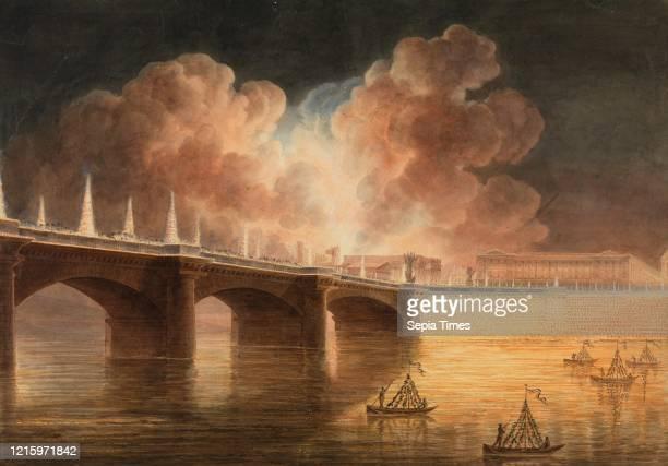 Fete pour la Paix Generale donnee a Paris le 18 Brumaire. Pont et Place de la Concorde. Francesco Piranesi . Francois Jean Sablet . 1801Ð2.