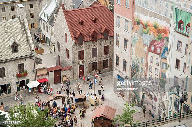 fetes de la nouvelle-france, vieux-quebec. - old quebec stock pictures, royalty-free photos & images
