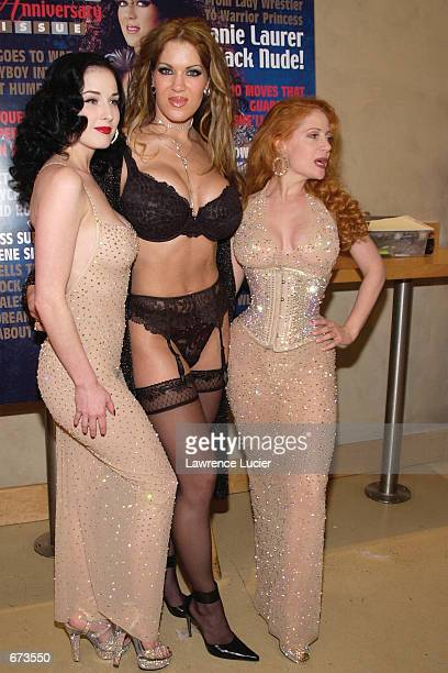 Fetish artists Dita Von Teese and Catherine D''Lish flank model Joanie Laurer formerly known as WWF wrestler Chyna at a preview of the Exotic Erotic...
