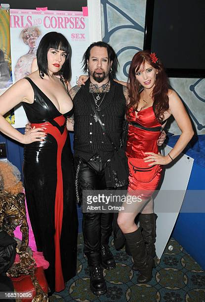 Fetish model Snow Mercy makeup artist Glen Hetrick and Penthouse Pet Veronica Ricci attend The Girls and Corpses spring issue premiere party and...