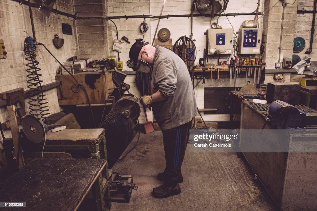 Fetler Anthony Phillips works during the BAFTA masks casting at New Pro Foundries Ltd on February 7, 2018 in London, England. The EE British Academy Film Awards will take place on Sunday February 18 at the Royal Albert Hall.