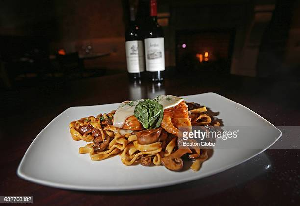 Fettuccine sauteed chicken with prosciutto sage wild mushrooms Marsala wine and melted Auricchio provolone cheese pictured at Amelia's in Stoughton...