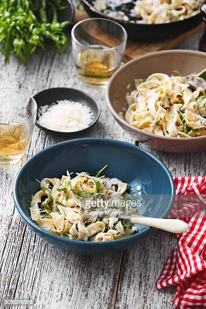 Fettuccine with mushrooms, leek and tarragon