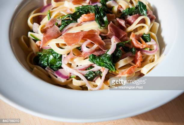 Fettuccine with Prosciutto Baby Spinach and Tomato is photographed for the Nourish column Tuesday January 28 2014 in Vienna VA