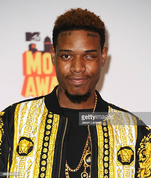 Fetty Wap poses in the press room at the 2015 MTV Movie Awards at Nokia Theatre LA Live on April 12 2015 in Los Angeles California