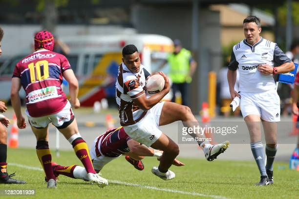 Fetuli Paea of Tasman is taken into touch during the round 7 Mitre 10 Cup match between Tasman and Southland at Trafalgar Park on October 25 2020 in...