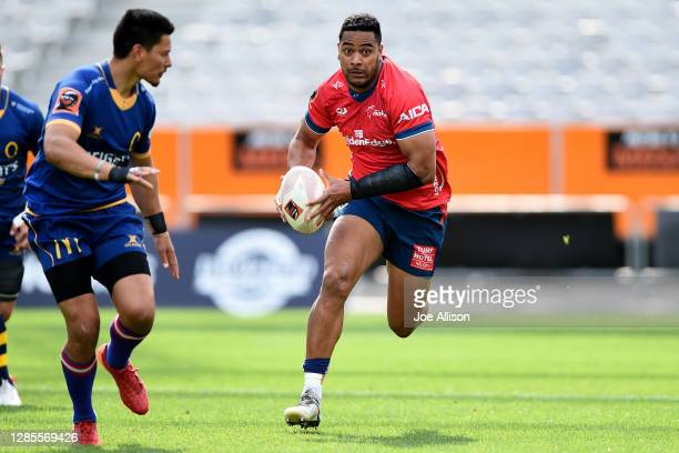 Fetuli Paea of Tasman makes a break during the round 10 Mitre 10 Cup match between Otago and Tasman at Forsyth Barr Stadium on November 14, 2020 in...