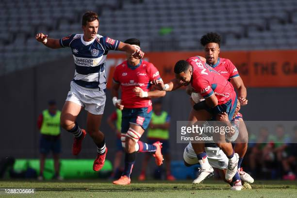 Fetuli Paea of Tasman with pressure from Harry Plummer of Auckland during the Mitre 10 Cup Final between Auckland and Tasman at Eden Park on November...