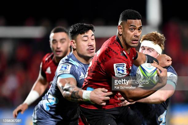 Fetuli Paea of the Crusaders charges forward during the round 7 Super Rugby Aotearoa match between the Crusaders and the Hurricanes at Orangetheory...