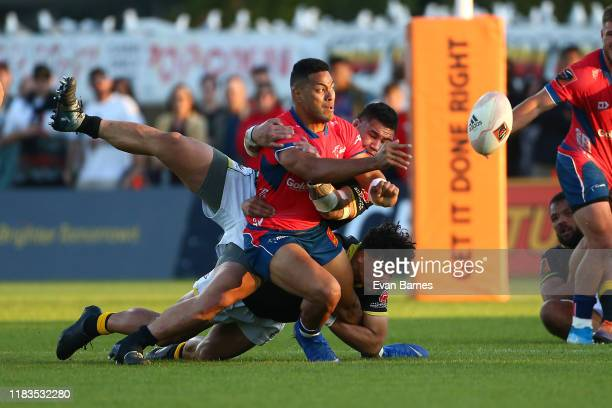 Fetuli Paea off loads during the Mitre 10 Cup Premiership Final between Tasman and Wellington at Trafalgar Park on October 26 2019 in Nelson New...