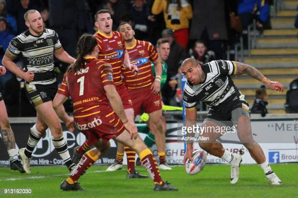 Fetuli Talanoa of Hull FC scores a try during the BetFred Super League match between Hull FC and Huddersfield Giants at KCOM Stadium on February 1...