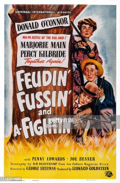 Feudin' poster FUSSIN' AND AFIGHTIN' US poster art from bottom Donald O'Connor Percy Kilbride Marjorie Main 1948
