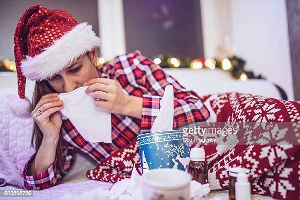 fever on christmas - flu virus stock photos and pictures