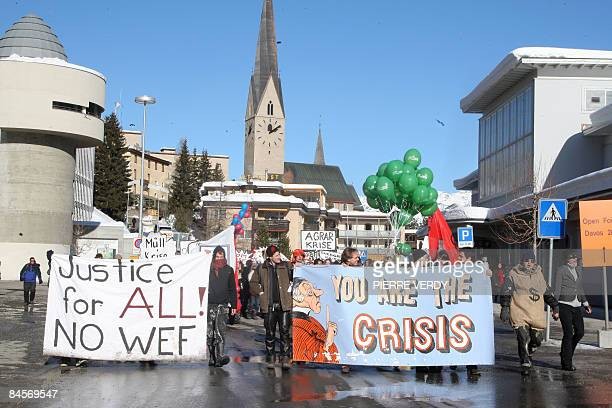 Few demonstrators protest against the World Economic Forum in the streets of Davos on the fourth day of the event in Davos January 31 2009 AFP PHOTO...