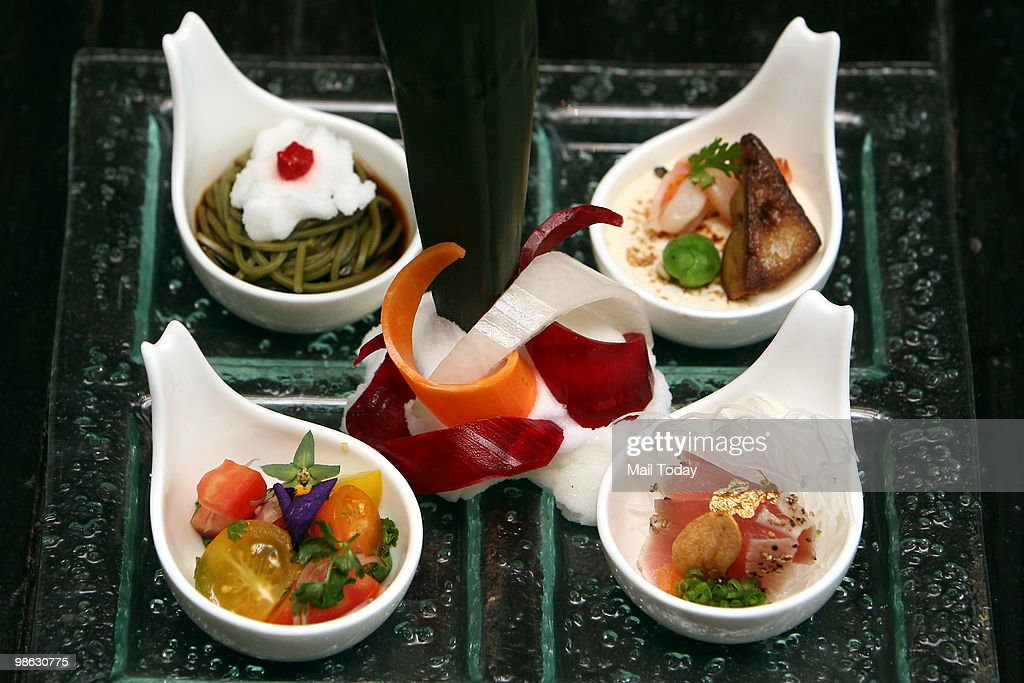 A few dishes from the summer menu of AI, a Japanese restaurant at MGF Mall in Saket, are displayed in New Delhi on April 21, 2010.