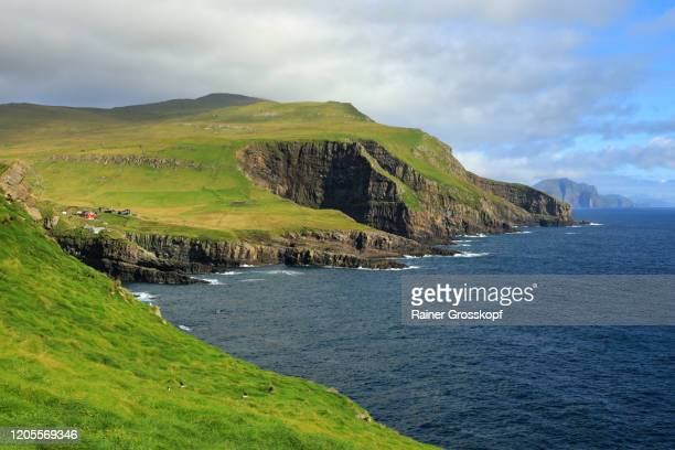 a few houses on an island with grassy mountains and rocky cliff - rainer grosskopf stock-fotos und bilder
